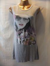 Femmes Couleur Soul 12 gris pâle Stretch/Modèle + Logo Imprimé/sans manches plus haut