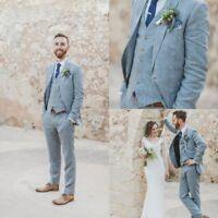 Men's Linen Wedding Suits Groomsman 3 pieces Blue Tuxedos Formal Groom Suits