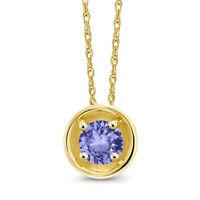 0.38 Ct Round Blue Tanzanite 14K Yellow Gold Pendant With Chain
