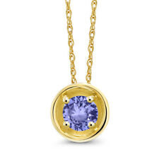 0.38 Ct Round Blue Tanzanite 14K Yellow Gold Pendant With Chain