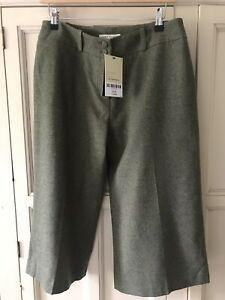 Laura Ashley Size 12 BNWT Tailored Tweed Elm Green Cropped Trousers NEW