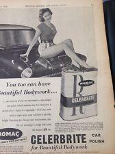 72-1 Ephemera 1958 Advert Romac Celerbrite Beautiful Bodywork Car Polish