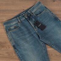 SAINT LAURENT PARIS 690$ Cropped Mid Rise Skinny Jeans In Light 80s Blue Denim