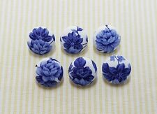 6 White with Blue Big Flower Fabric Covered Buttons - 20mm (Ver.1)