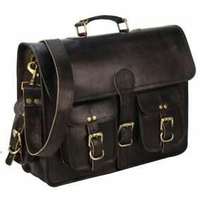 Vintage Leather Laptop Messenger Handmade Briefcase Bags Satchel Office Bag New
