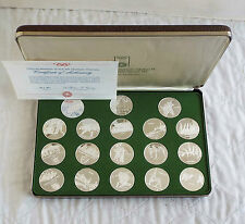 MUNICH 1972 OLYMPIC GAMES 18 .999 FINE SILVER PROOF MEDAL SET - boxed/coa