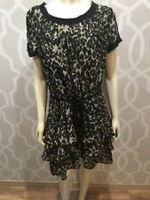 CONVERSE One Star Womens Size XL Animal Print Pullover Dress Belted Tiered Skirt