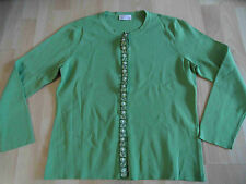 BONITA schöne Strickjacke mit Schmuckborte grün Gr. L TOP  kMü1015