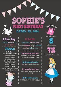 YEAR of 1st Milestone Chalkboard Birthday Print Alice in Wonderland
