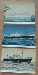 3  Royal  Mail  Lines  Ltd  Postcards -  Arlanza, Escalante  &  Ebro