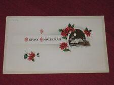 1915 Merry Christmas Post Card Embossed Poinsettias & Winter Scene Posted Vg