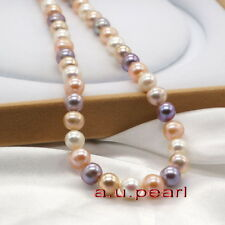 """AAAAA 18""""10-11mm REAL South sea natural round Multicolor pearl NECKLACE 14K gold"""