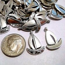 10 pc  Metal SAILBOAT SAIL BOAT Pendants / Charms Antq Silver E07 SHIPS FROM USA