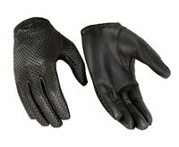 Men/'s Distressed Grey LEATHER Professional Style Driving Glove w// Snap Wrist