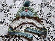 Pistil REI woven lolita cute sage and moss green toque ski hat pom pom fur hat