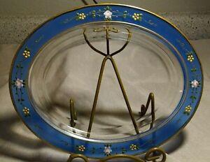 """Vtg 10"""" Oval Glass Platter Blue Band HP Embossed Enamel Roses Flowers Vines Gold"""