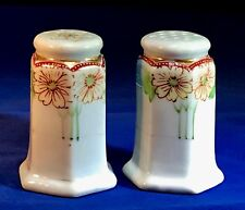 Hand Painted - Japan - Salt & Pepper Shakers- Double Flowers & Gold Accents