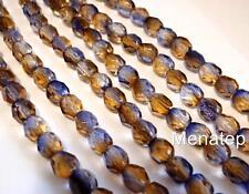 25 6mm Czech Glass Beads: Dual Coated-Cantaloupe/Grape
