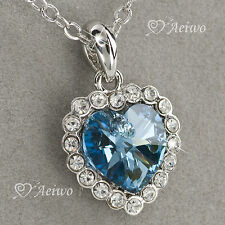 18K WHITE GOLD GF BLUE MADE WITH SWAROVSKI CRYSTAL HEART PENDANT NECKLACE
