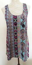 River Island Ladies Size 12 Pink Blue Red Aztec Print Vest Top Strappy Tunic