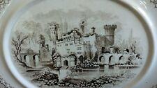 Antique Ironstone platter tray transferware Alhambra brown transferware 19th c