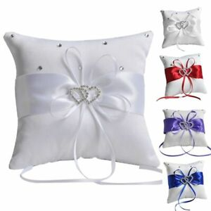 Wedding Ceremony Satin Ring Pillow Crystal Ring Bearer Double Heart Cushion