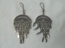 """Egyptian Sterling Silver Half Moon Stars Earrings 3"""""""