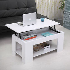 Wood Modern Lift Top Coffee Table with Storage Space Living Room Furniture White