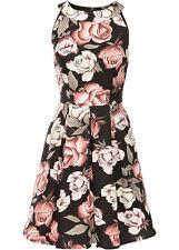 Skaterkleid Kleid Ärmellos mit grossem Cut-Out im Rücken schwarz geblümt Gr. 38
