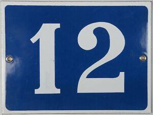 Large old French house number 12 door gate plate plaque enamel steel metal sign