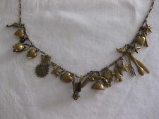 Vintage PIDIDDLY Links CHARM Bracelet NECKLACE Lake Katrine NY Brass SEAHORSE