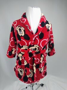 Disney Mickey Mouse Belted Robe Size 2T Toddler Red  Soft EUC
