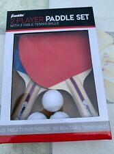 New listing Franklin Sports 2 Player Paddle Set w/ 3 40mm Table Tennis Balls NEW
