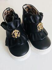 ROBERTO CAVALLI BABY GIRL BLACK HIGH TOP SNEAKERS, size UK 4