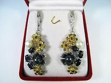 3.90 CTW BLUE SAPPHIRE & BLACK/WHITE PEARL EARRINGS  3-TONE GOLD over 925 SILVER