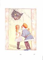 Alice in Wonderland print.Margaret Tarrant.1930.Cat.King.Alice.Children.Art