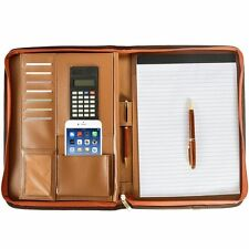 Premium Leather Business Portfolio with Zippered Closure FREE CALCULATOR AND PAD