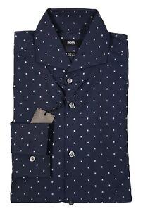Boss-Hugo Boss Black Label Men's Navy Dwayne Pattern Slim Fit Stretch Shirt