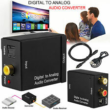 Digital Optical Toslink Coax to Analog L/R RCA Audio Converter Adapter w/ Cable