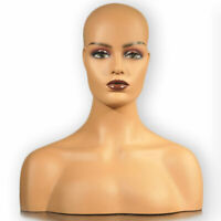 Realistic Fiberglass Women Mannequin Head Display Hat Glasses Jewelry Wigs NO.39