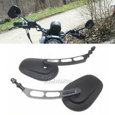 BIG Black Mirrors Universals Motorcycle Cruiser For Harley Davidson Street Glide