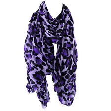 Long Light Crinkled Scarf Wrap Leopard Animal  Print See Through  Purple Ivory