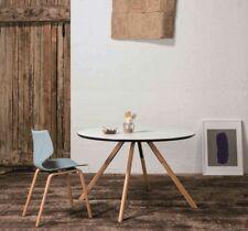 Küchentisch Esstisch Rund 120cm Weiß Lack + Buche Massiv Gestell Esszimmer Tisch