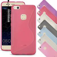 For Huawei P10 Lite  - Soft Slim Silicone Gel Rubber Case Cover + Mini Stylus