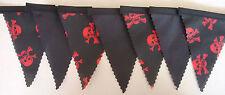 Pirata Red Skull & Crossbones Negro Mini Tela EMPAVESADO Decoración 3mtr cada