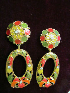 Jose Maria Barrera for Avon Enamel and Crystal Hibiscus Flower Clip Earrings