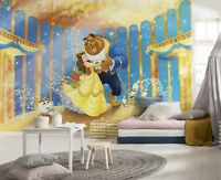 Wallpaper 368x254cm Beauty and the Beast wall mural giant poster Disney Yellow