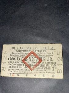 Southern Railway Red Diamond Platform Ticket Barnstaple Jc  No 1