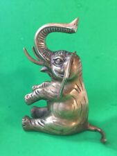 COLLECTABLE VINTAGE BRASS  SITTING  RAISED TRUNK    ELEPHANT