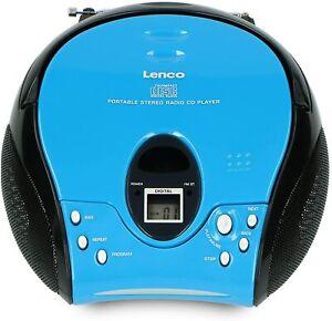 Lenco SCD-24 Stereo FM Radio mit CD Player und Teleskop Antenne Blau